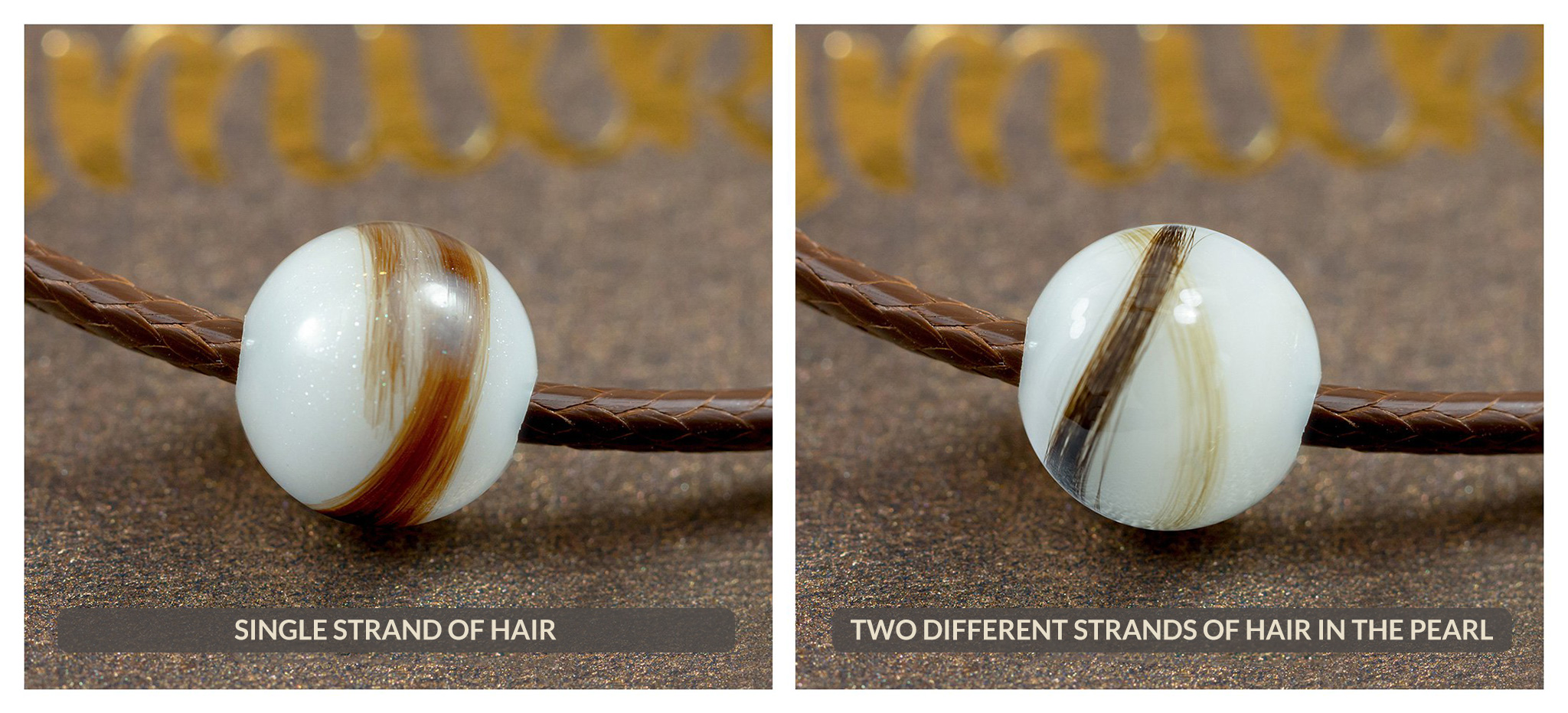 Hair strands embedded in the pearl *